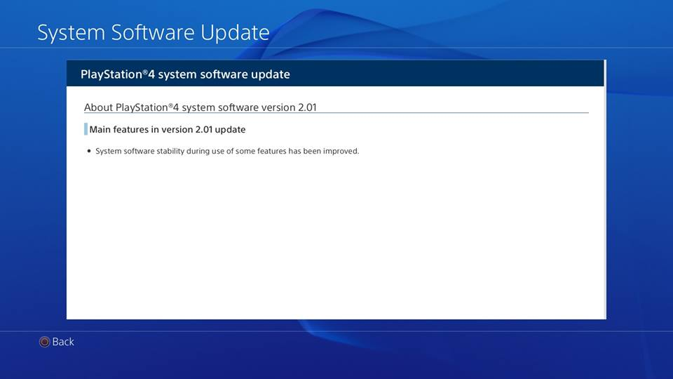 PS4 System Software update 2.01