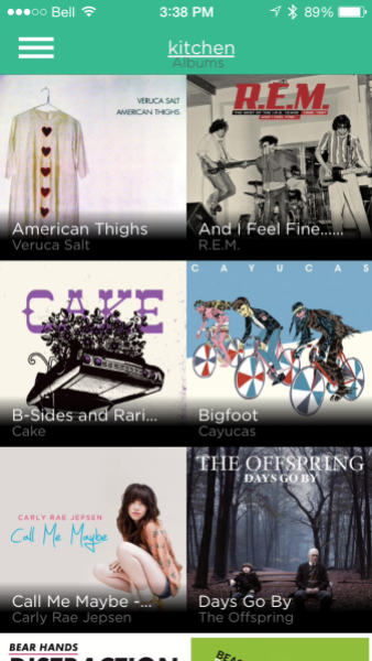 The home screen shows the media on your device organized by album and the Rocki Play that you are connected to at the top (iOS).