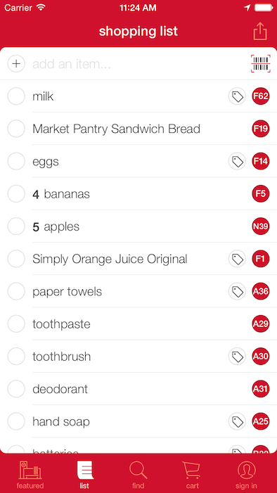 A shopping list in the updated Target app.