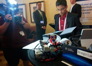 Braigo founder Subhum Banerjee demonstrates his Braille printer for the media at Intel Capital's Global Summit.