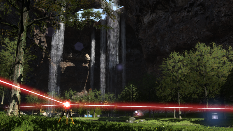 Refracting lasers (as shown here) are one way you'll solve puzzles and open gates to new information in The Talos Principle.