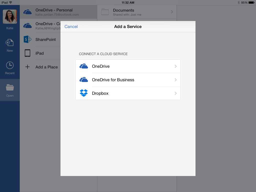 Word iPad Add Dropbox as Place