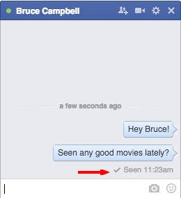 Facebook chat shows when messages are read.