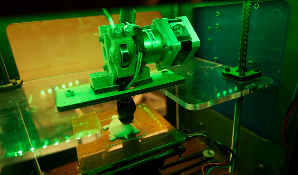This 3d Printer is currently printing a turtle.