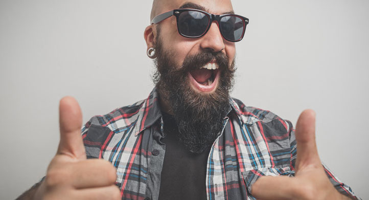 A stock photo of a bearded person from Fotolia's home page.