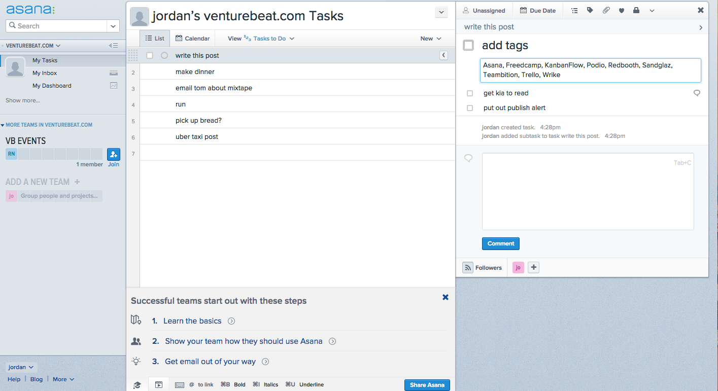 The Tasks to Do view in Asana.