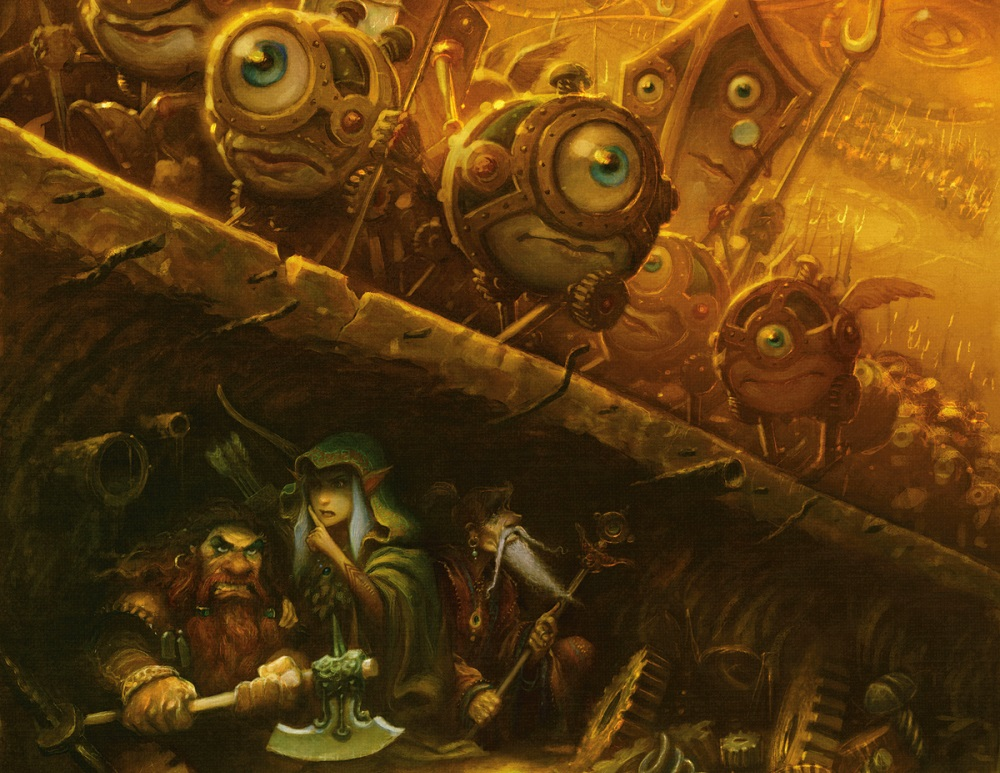 The 5th Edition of the Dungeons & Dragons Dungeon Master's Guide features the beloved Modrons, mech-like beings of Law and Order.
