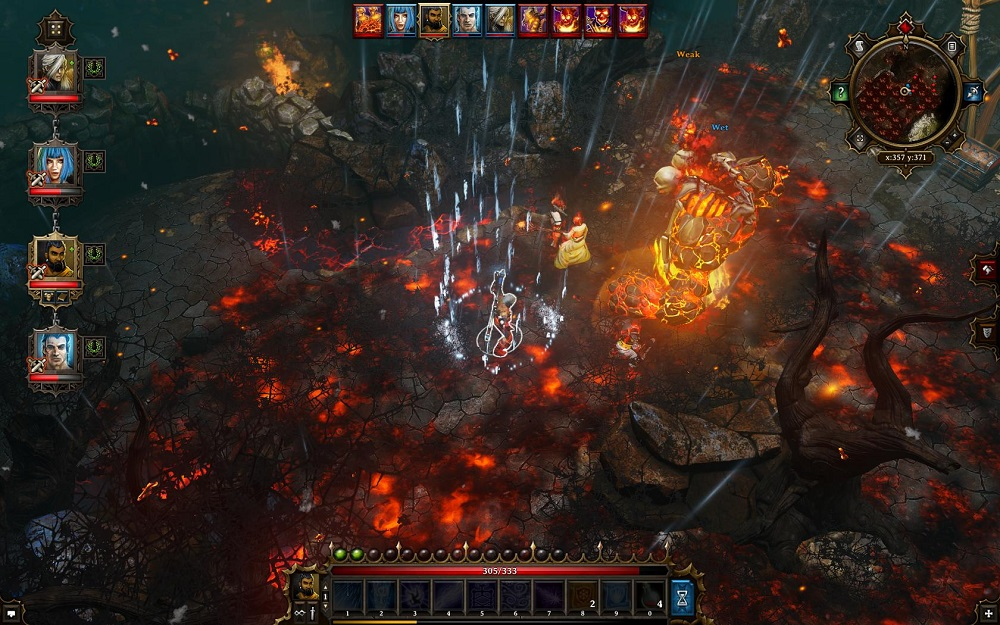 Elements matter in Divinity: Divine Sin. Casting a storm spells not only puts out these fires but also affects that big-ol' flame monster, too.