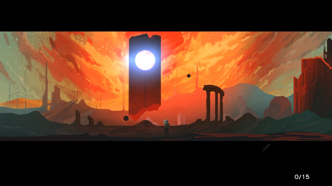 A monolith stands on a desolate, sandy world.