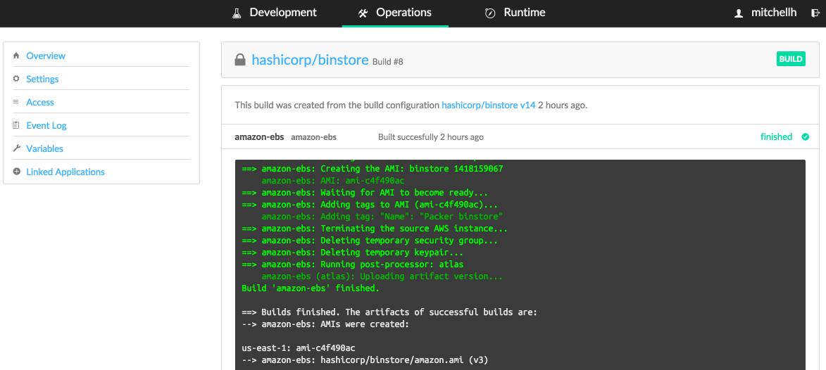 A screen shot of HashiCorp's Atlas software.