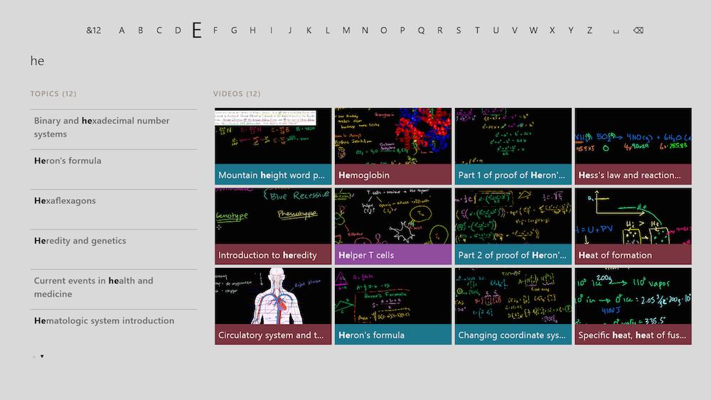 How the Khan Academy looks inside the Xbox One.