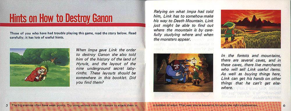 The Legend of Zelda manual.