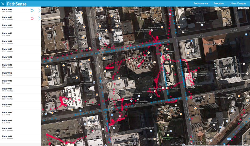 PathSense believes its technology can outdo even GPS for location accuracy. The red dots indicate GPS in a downtown area, while the blue dots are PathSense's tracks.