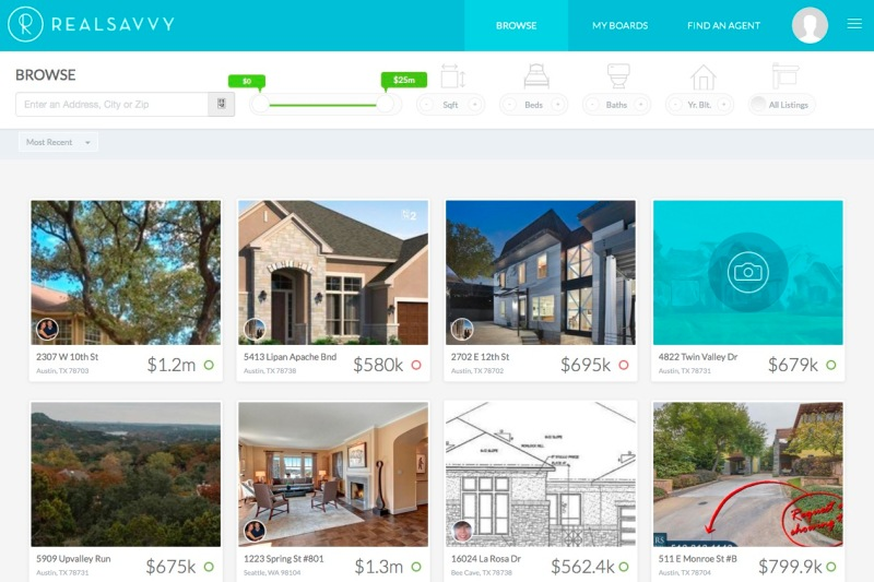 A screenshot of RealSavvy's home listing search.