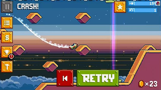 It plays like a combination of Trials and Flappy Bird.