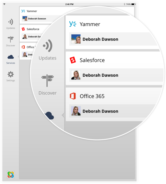 Harmon.ie Collage brings together contacts, as well as updates, from several cloud services.