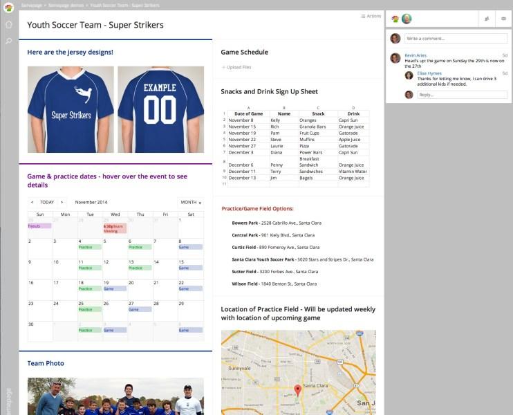 A soccer team's use of Samepage.