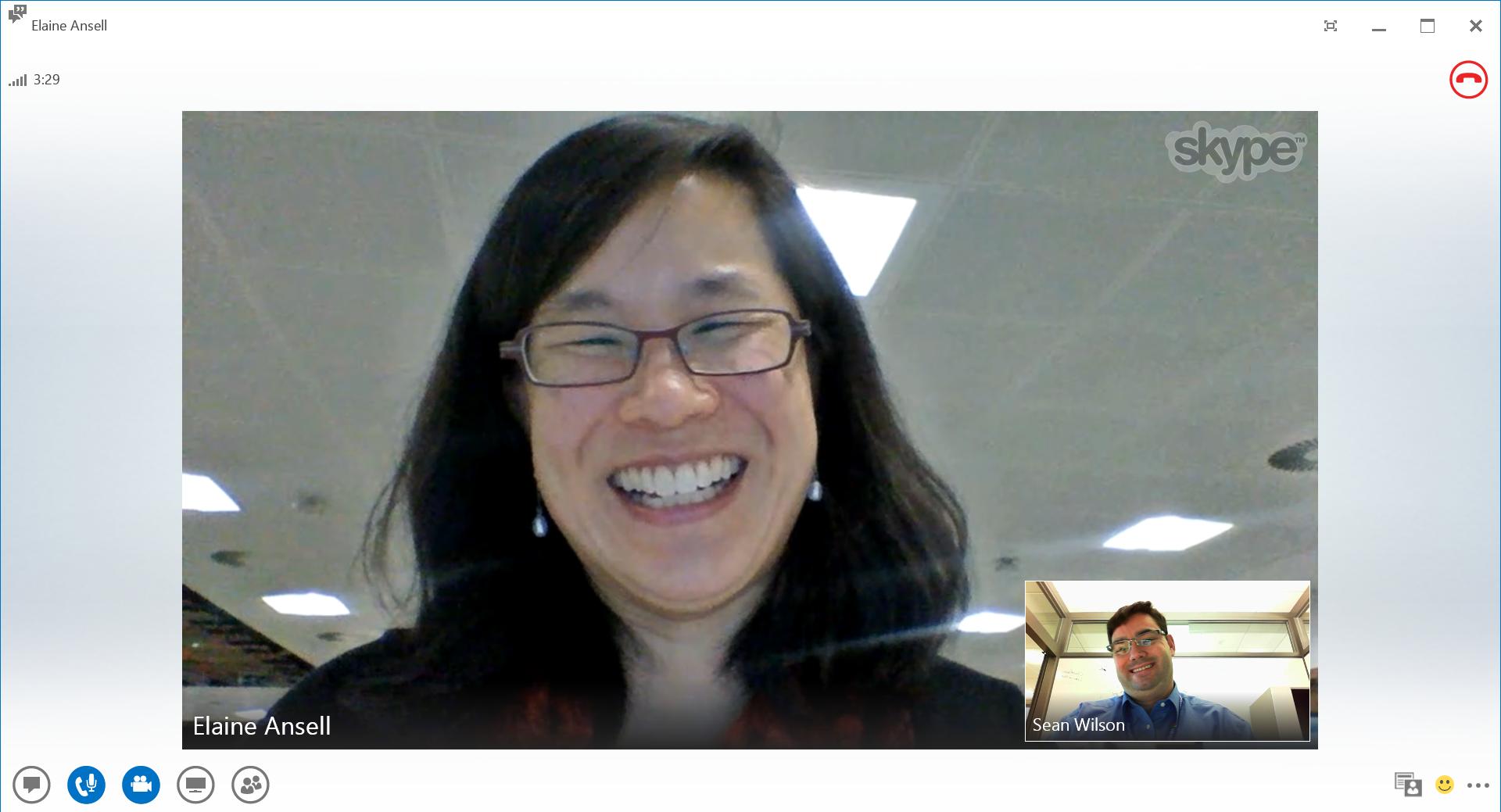Skype video call screen capture.