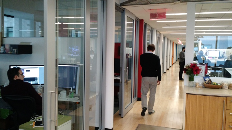 The Fog Creek office in New York, where developers get their own soundproof rooms.