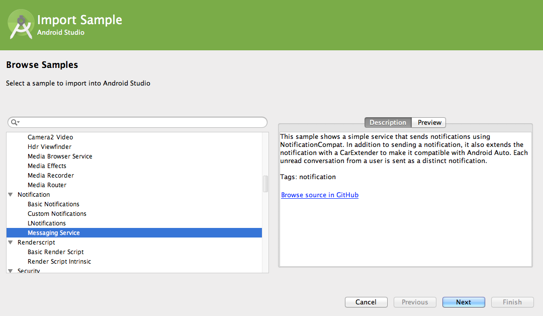 Android Studio now includes new project templates and imports samples.