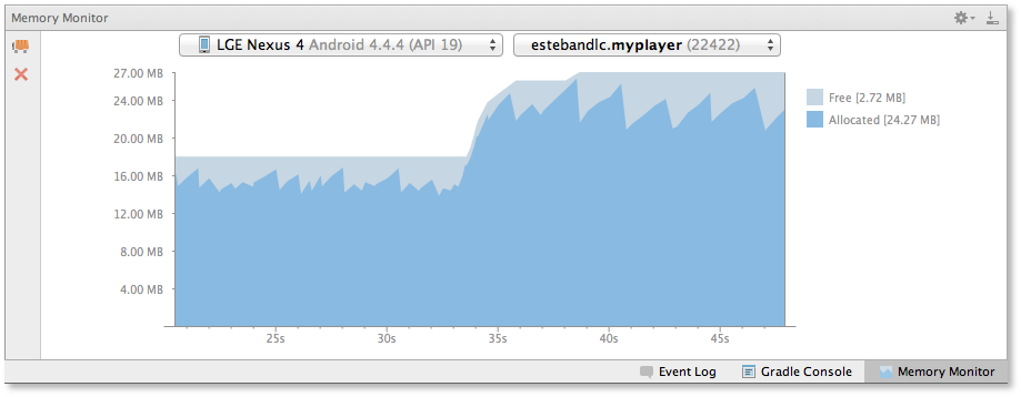 Memory Monitor shows memory use of your app to aid performance tweaking.