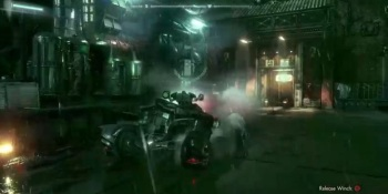 The Batmobile takes on an attack helicopter in Batman: Arkham Knight