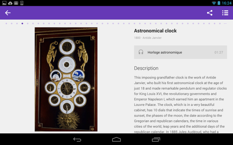 Museums can display their artifacts, like this astronomical clock from the Musee des arts et metiers, via Google Cultural Institute apps.