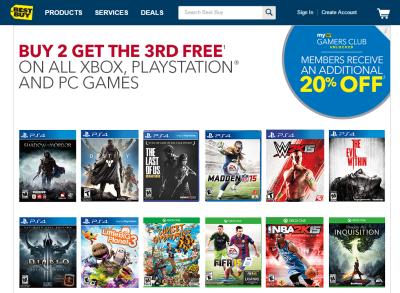 best buy buy 2 games get 1 free