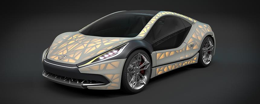 An EDAG Light Cocoon 3D printed concept car.