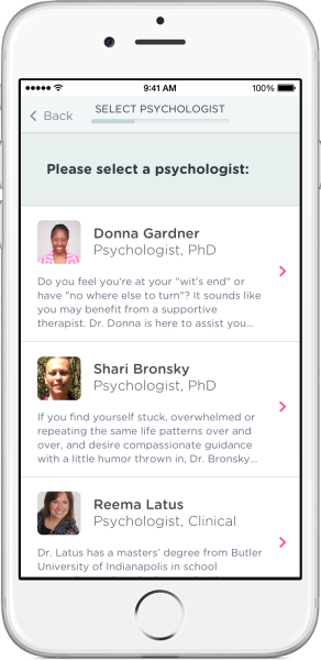 The Psychology portion of the Doctor on Demand app lets you choose a therapist.
