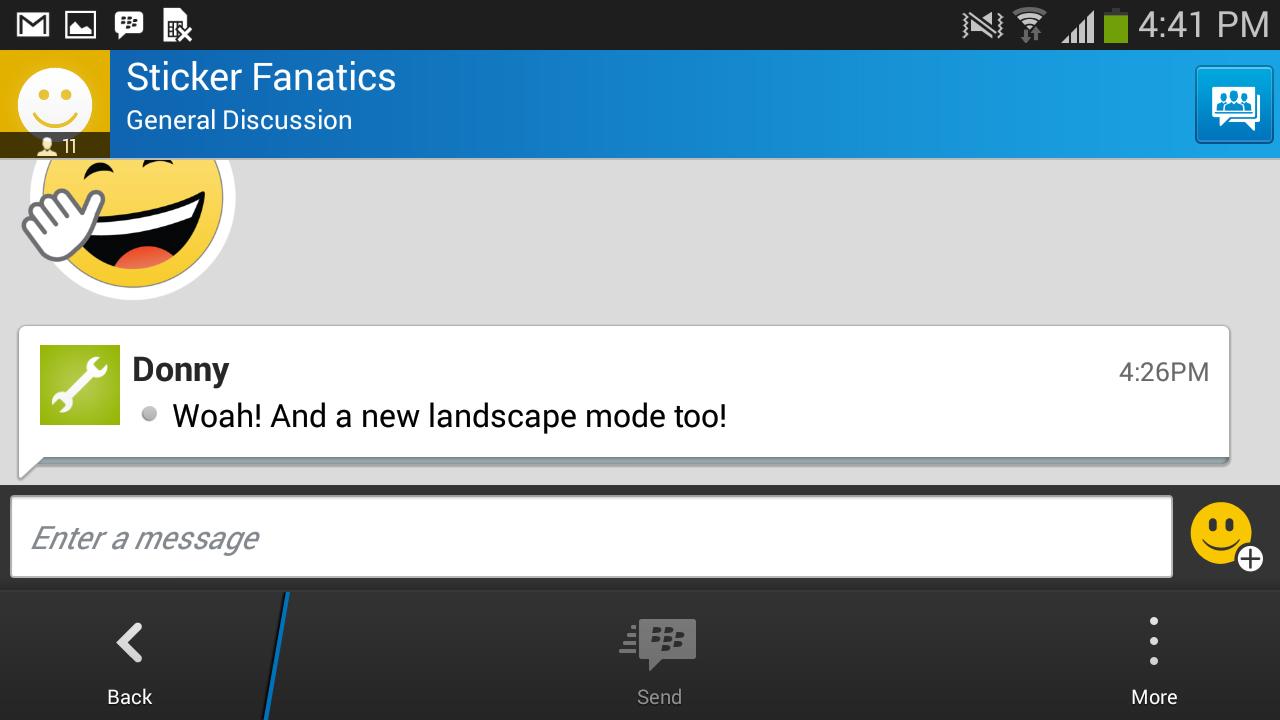 BBM landscape mode