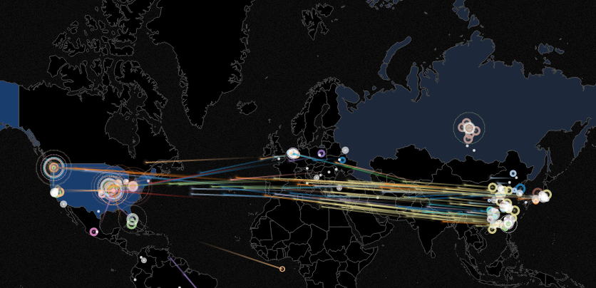 A screen grab from Norse's  real-time map of cyberattacks.