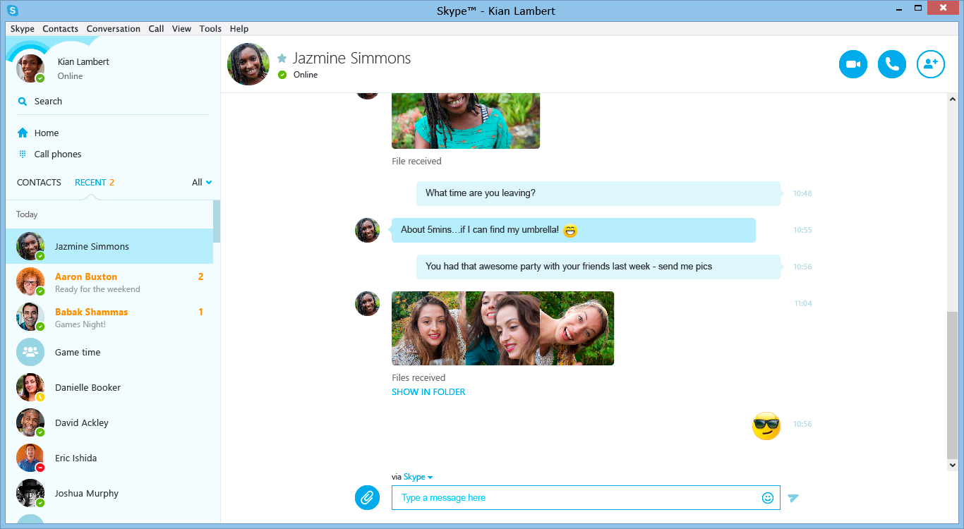 Chatting in the Skype window.
