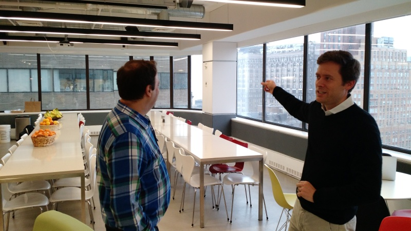 Fog Creek Software cofounder and Trello chief executive Michael Pryor, right, speaks with Joel Spolsky, Fog Creek's other cofounder, at the Fog Creek office in New York.