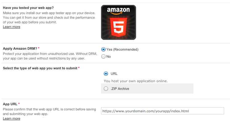 The Amazon workflow for releasing web apps is the same as for releasing mobile apps.