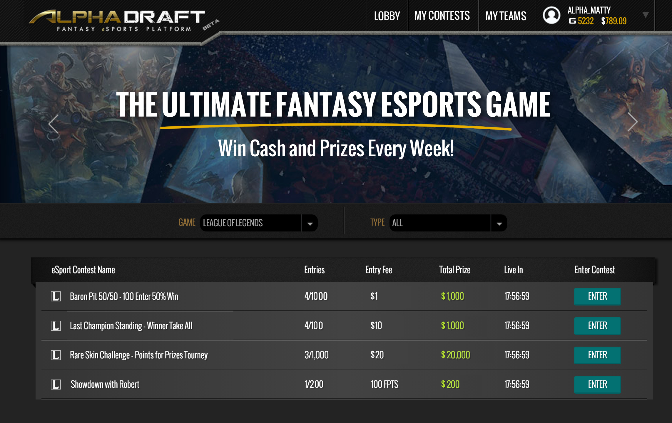 A list of the kinds of tournaments that you might see on AlphaDraft on any given day.