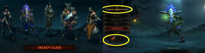 Note the limited character design options — gender and class — in Diablo III.