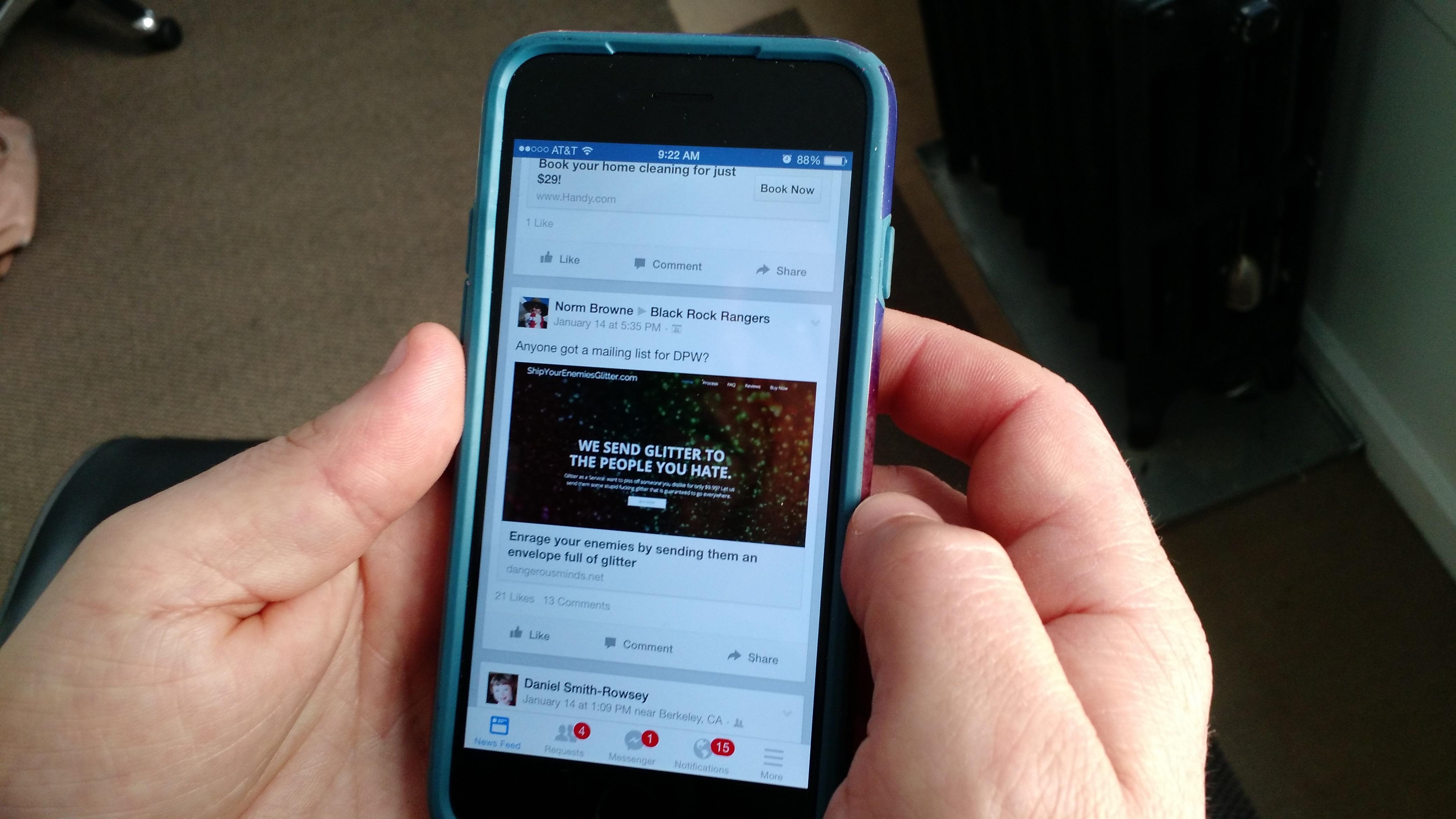 Facebook's News Feed on iOS.