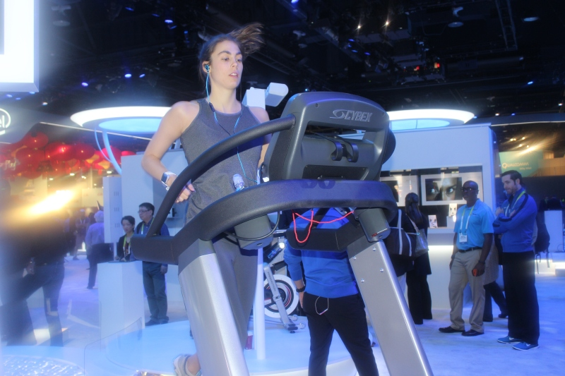 This woman ran 11 miles on her first day at CES 2015.