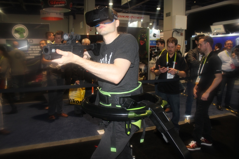 Virtuix's Omni Treadmill virtual reality appliance at CES 2015