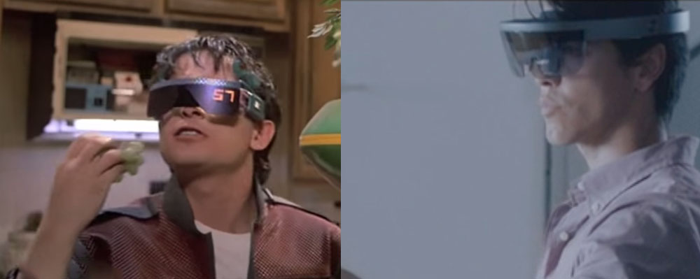 Back to the Future II's head-mounted display on the left and Microsoft's HoloLens on the right.