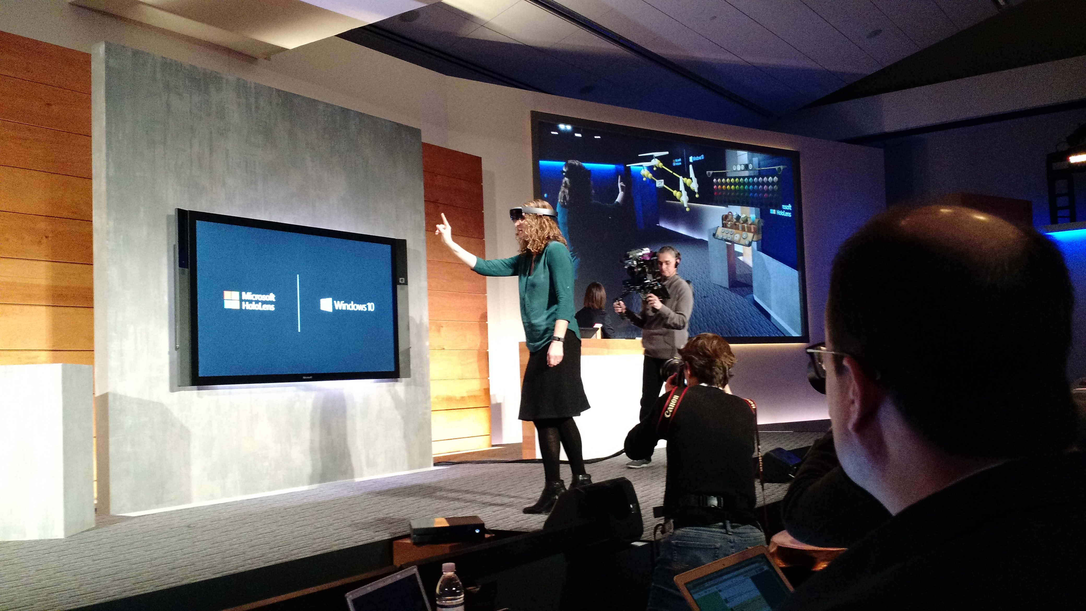 An onstage HoloLens demo.