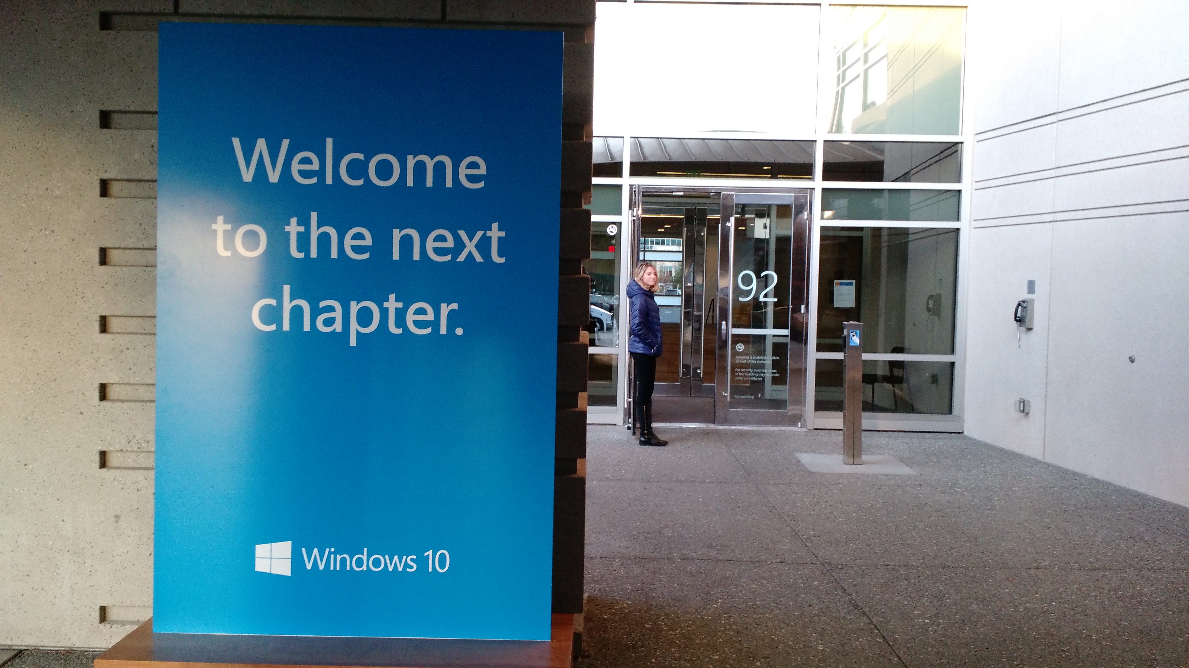 """Welcome to the next chapter."" of Microsoft Windows, that is. At a Windows 10 press event on the Microsoft campus in Redmond, Wash., on Jan. 21."