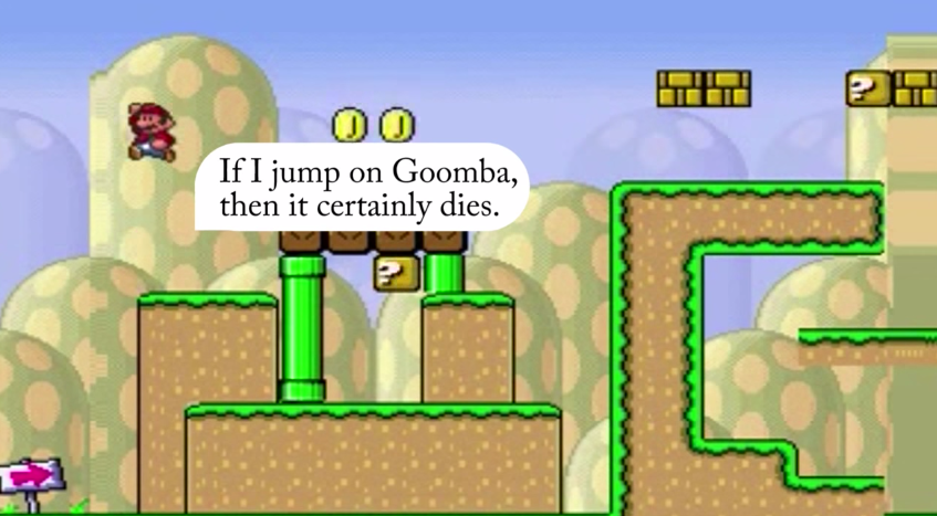 The A.I. Mario shows that he knows what his actions mean.