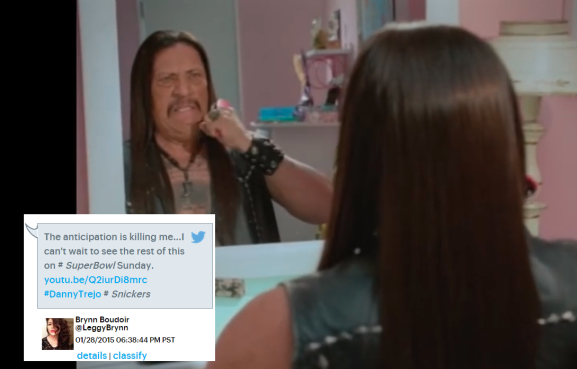 An online teaser of the Snickers ad, with a relevant social post expressing Desire.