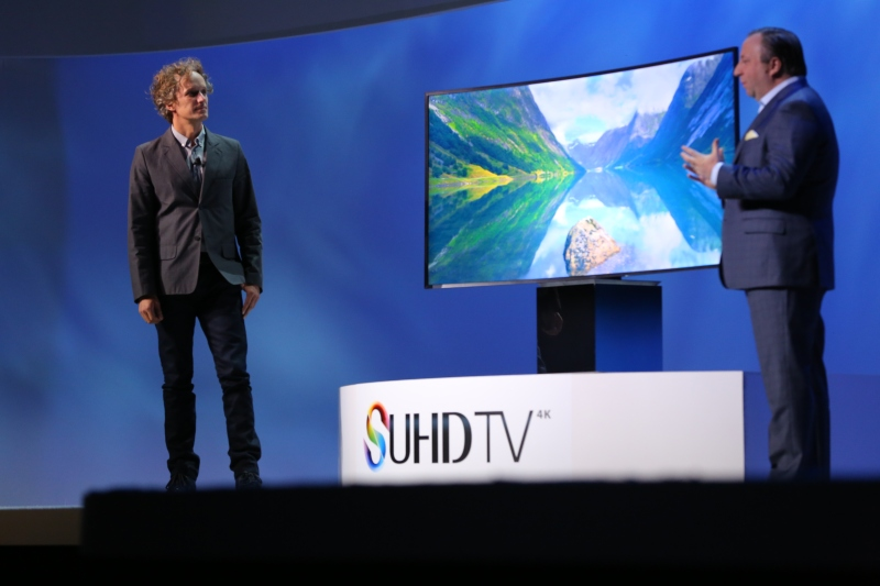The well-known designer Yves Behar appeared onstage here to talk about his design of the new SUHD TVs.