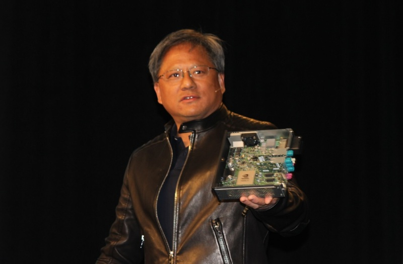 Nvidia CEO Jen-Hsun Huang shows off the Nvidia Drive CX.