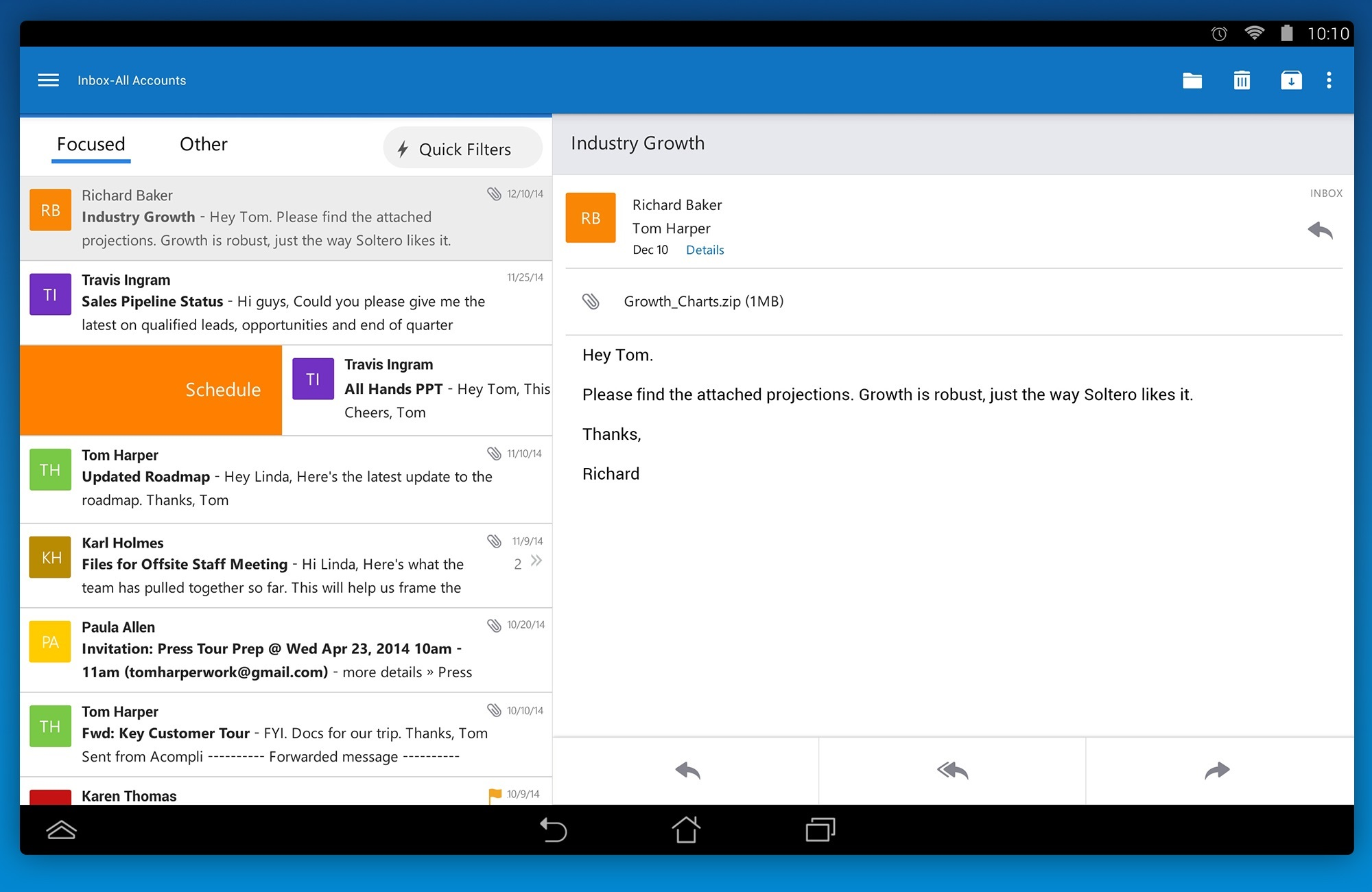 Outlook for Android tablets