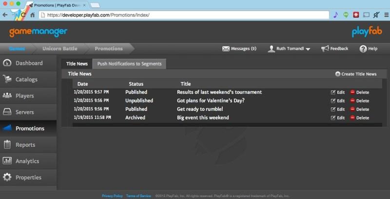 PlayFab dashboard