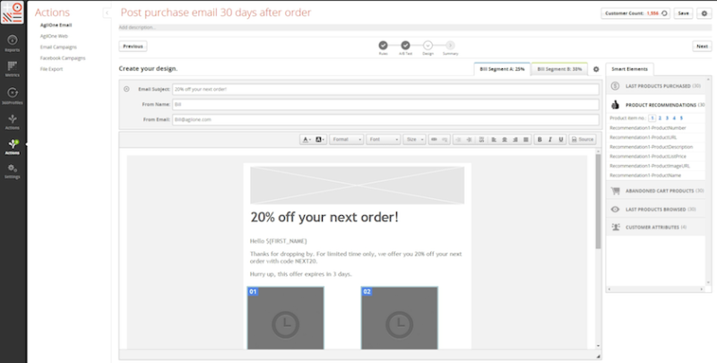 An email creation screen in the new AgilOne